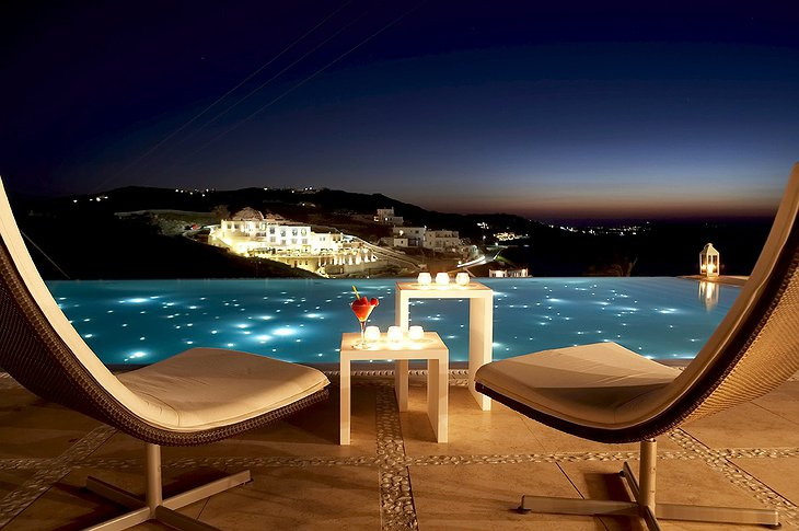 Infinity pool at night