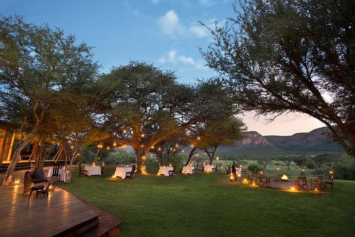 Marataba Safari Lodge garden dining with many small lights