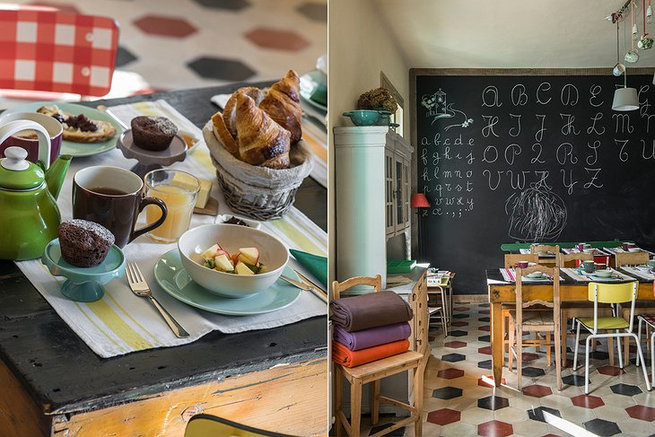 La Scuola Guesthouse dining and blackboard