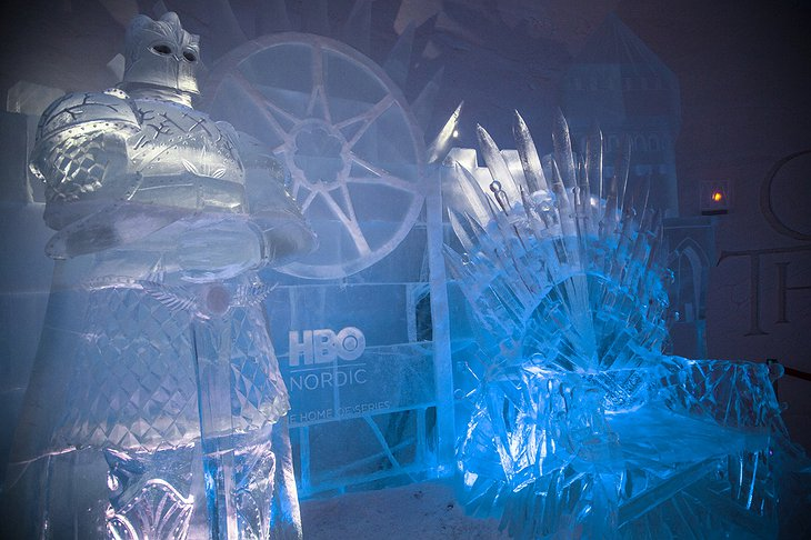 Game of Thrones The Mountain character and the Throne made out of ice