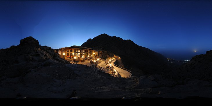 Restaurant on the top of the rocky hills of Oman at night