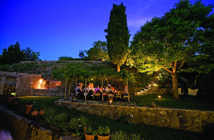 Tuscany garden dining at night