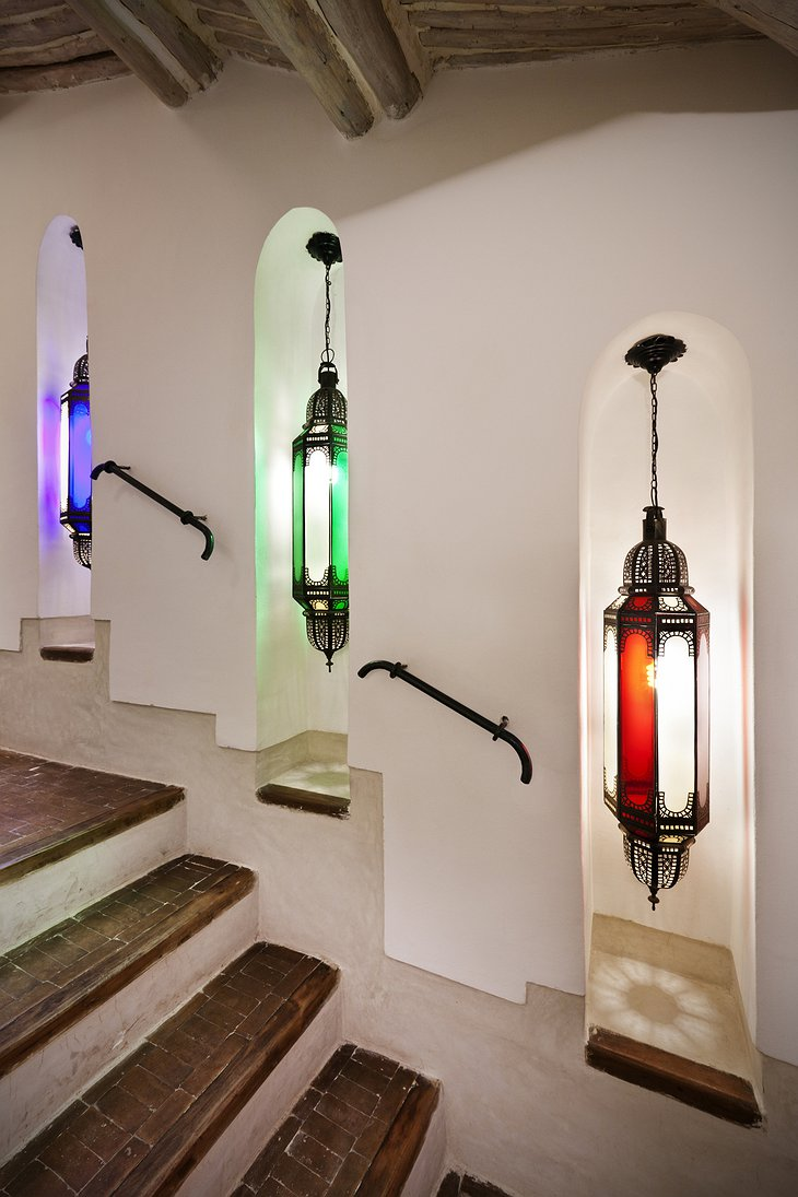 Riad Farnatchi stairs with colorful lamps