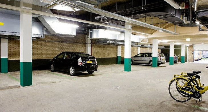 Conscious Hotel garage with electric cars