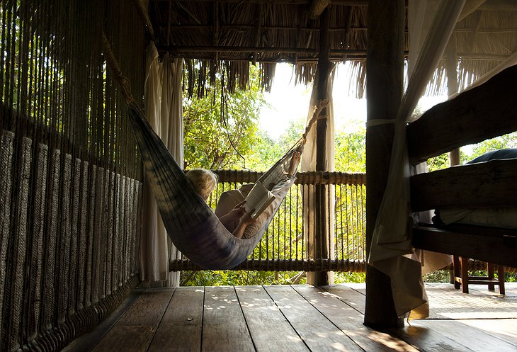 Relaxing in the treehouse at Chole Mjini Lodge