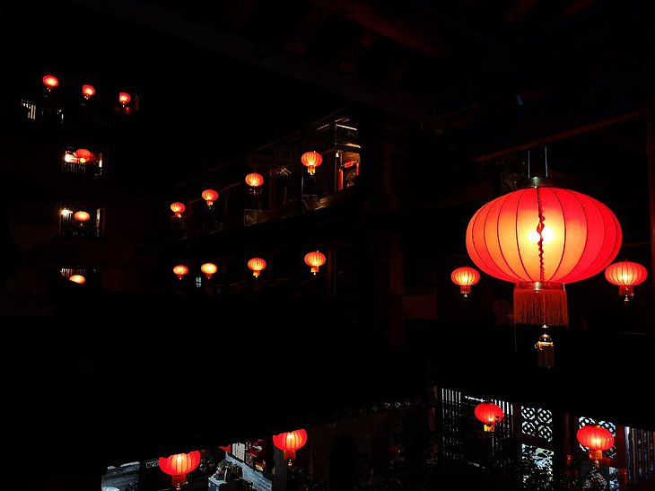 Tulou Fuyulou Changdi Inn Red Lanterns in the Night