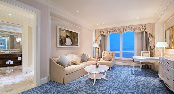 The Castle Hotel suite living room with sea view