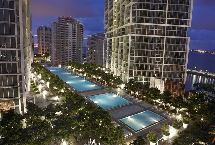 Viceroy Miami swimming pools at night