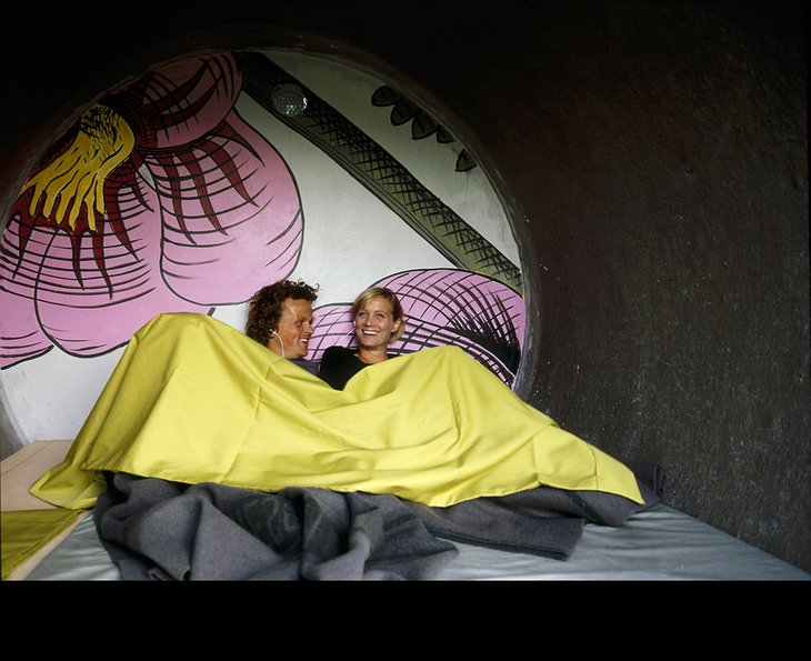 Sleeping in a sewer pipe