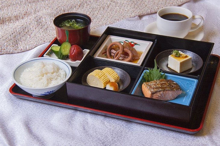 Japanese food on the bed