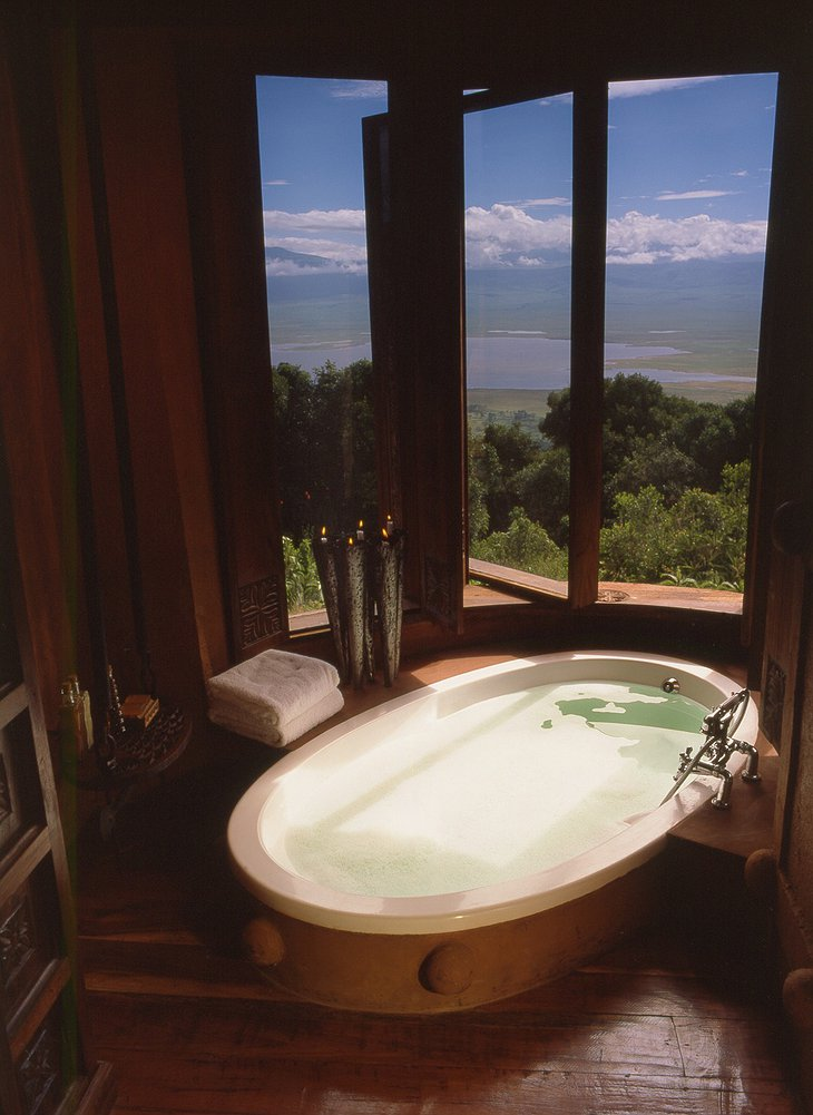 Ngorongoro Crater Lodge bathroom with Lake Magadi views
