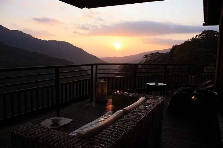 View from the terrace on Hakone mountains