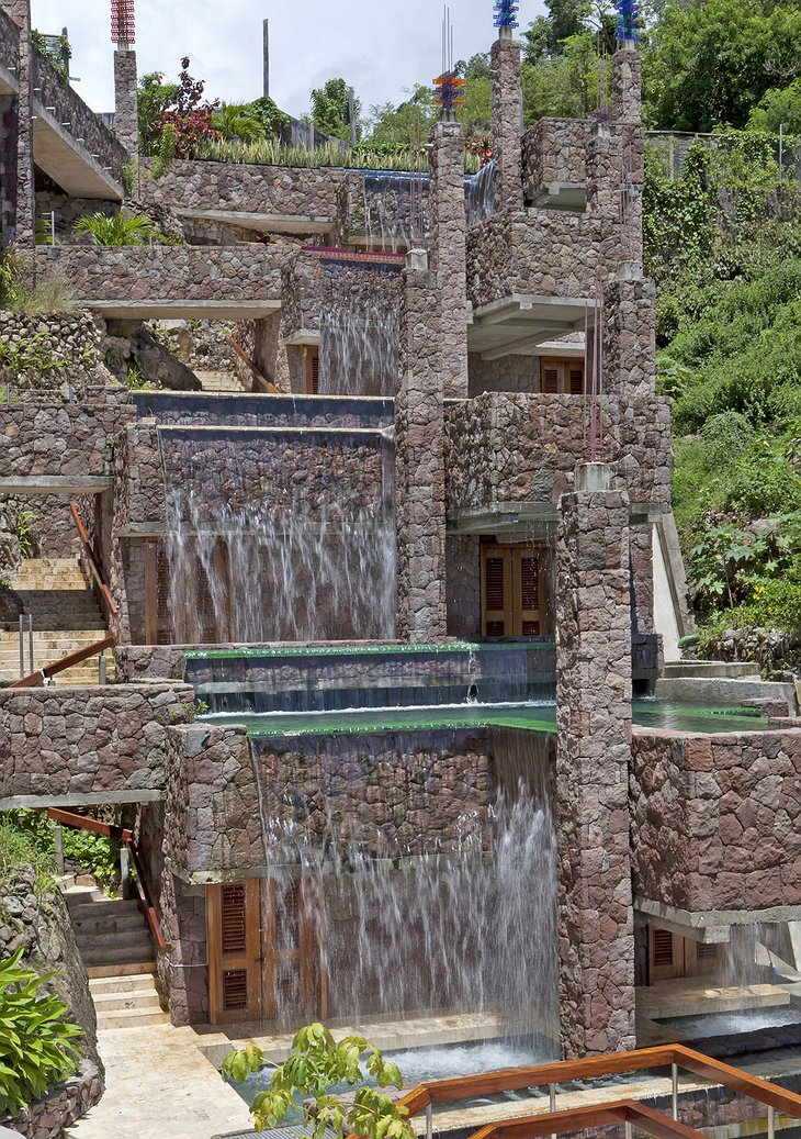 Jade Mountain Resort waterfalls