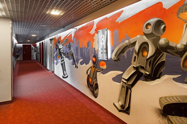 Red Stars Hotel corridor with graffiti