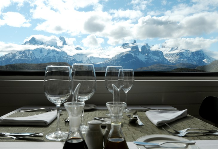 Dining with splendid Andes mountains view