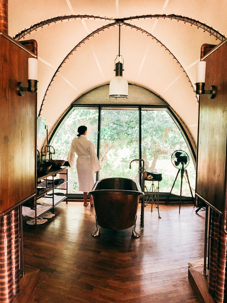 Wild Coast Tented Lodge cocoon bathroom