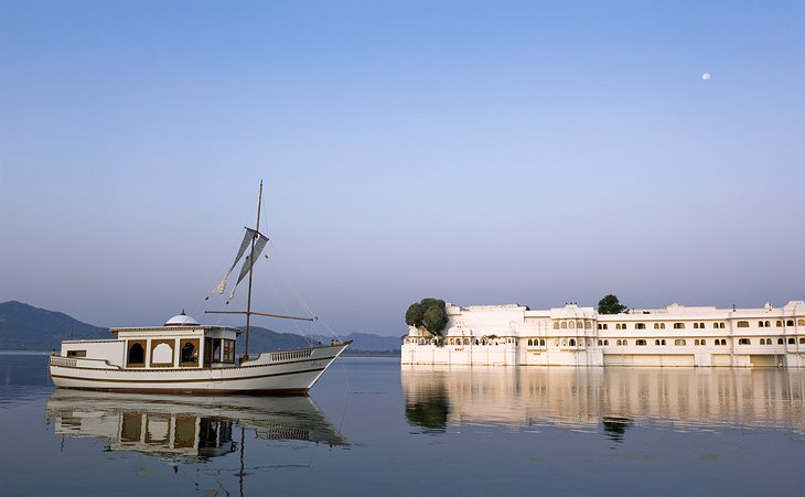 Lake Palace Hotel with a boat