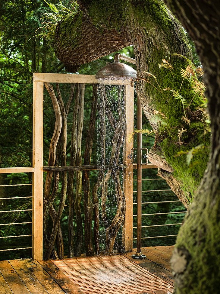 Outdoor Shower in the Forest at The Woodman's Treehouse