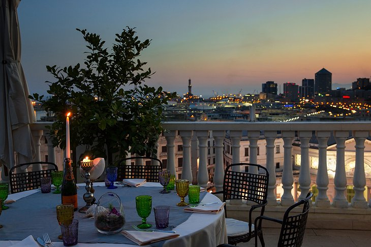 Grand Hotel Savoia Genova romantic dining on the rooftop with panoramic views