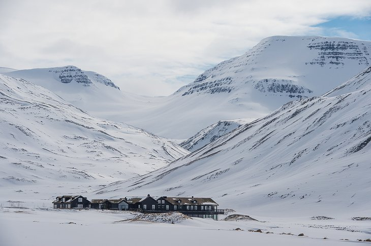 Deplar Farm during the winter on Troll Peninsula in Iceland