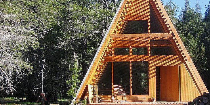 Two-storey wooden cabin