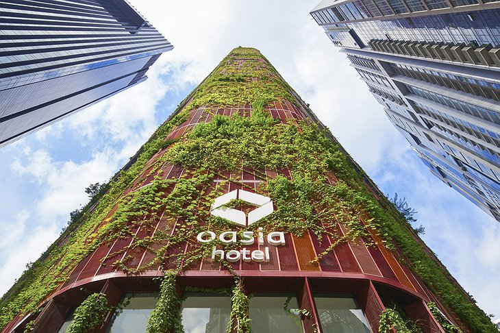 Oasia Hotel Downtown Singapore Building with Green Facade