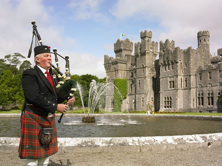Bagpipe played in front of the Ashford Castle
