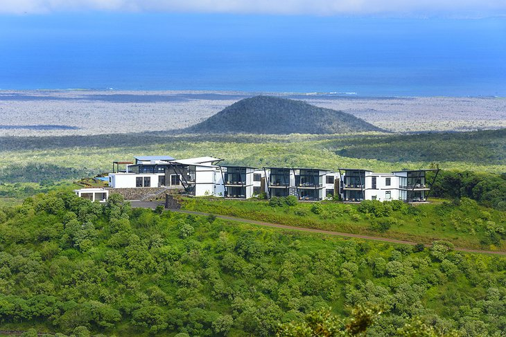 Pikaia Lodge with the hills of Galapagos