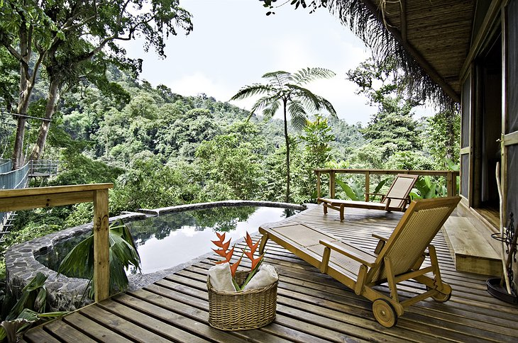 Canopy Honeymoon Suite terrace with private pool and jungle views