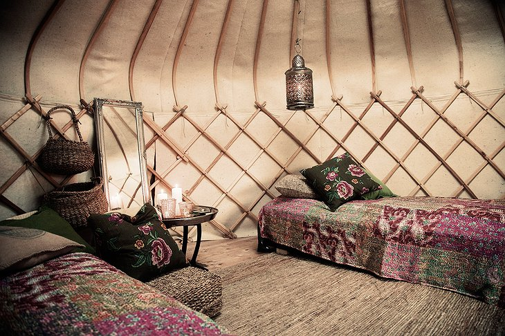 The Canvas Hotel yurt interior