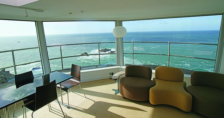 La Corbiere Radio Tower living room with sea view