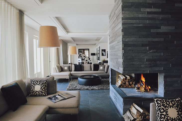 The Cambrian living room with fireplace