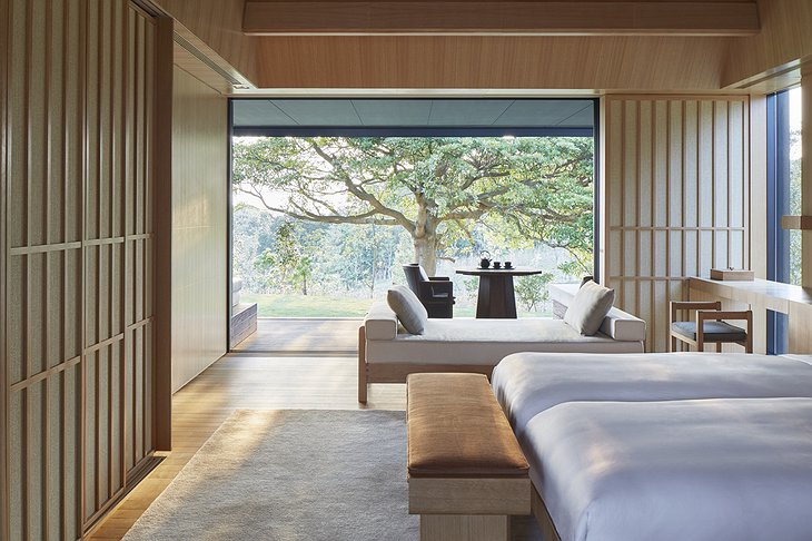 Amanemu Mori suite bedroom with nature view