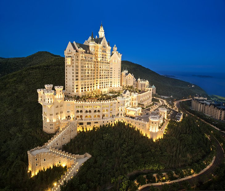 The Castle Hotel in Dalian lit up at night