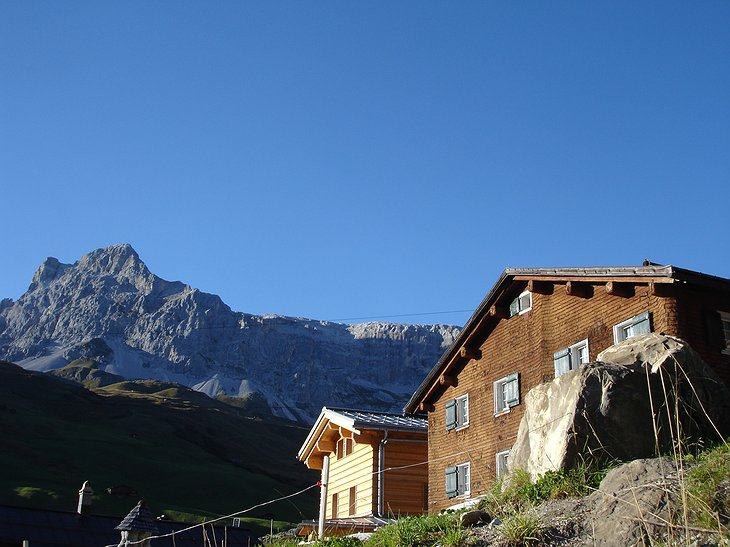 Sulzfluh mountain inn and the Swiss Alps