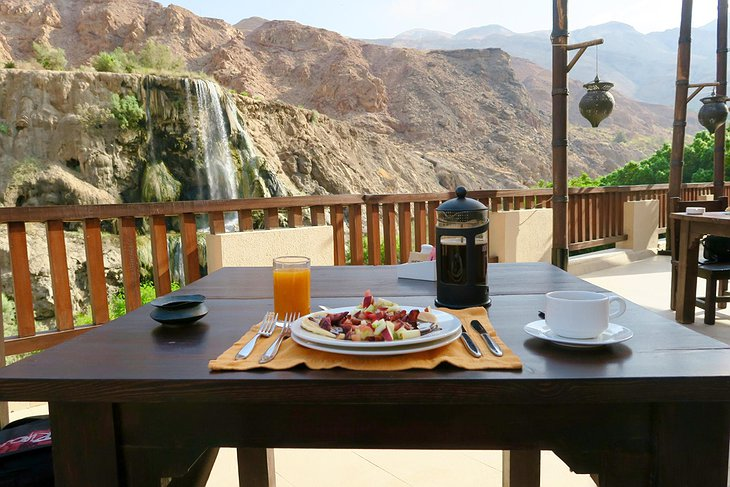 Ma'in Hot Springs balcony breakfast with panorama