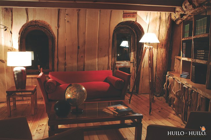 Wooden furniture in Montana Magica Lodge
