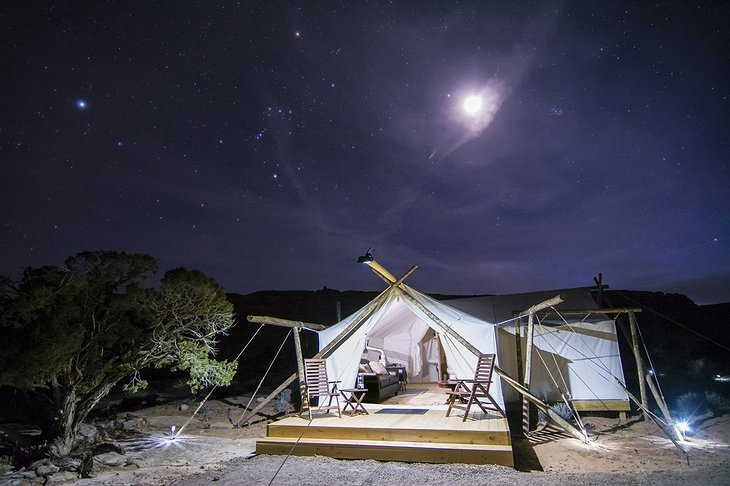 Tent at night with starry sky