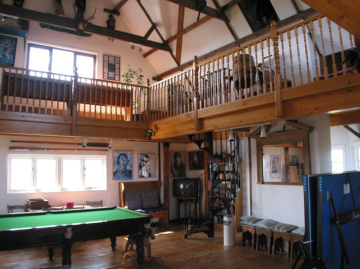 House in the Clouds living room with pool table