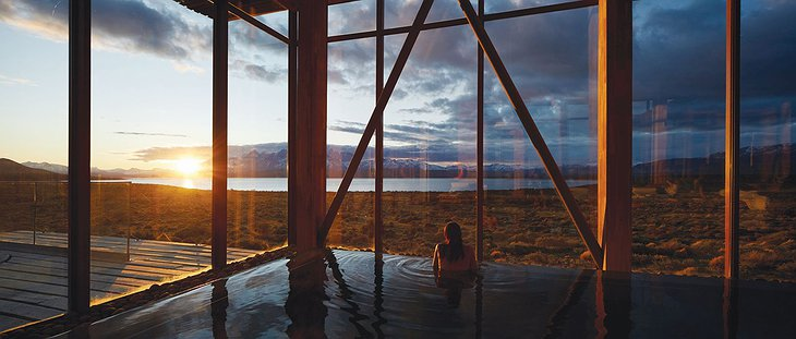 Tierra Patagonia Pool with Sunset