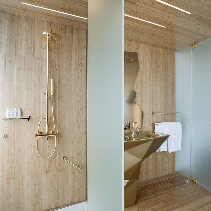 NEW Hotel Athens bathroom with golden shower