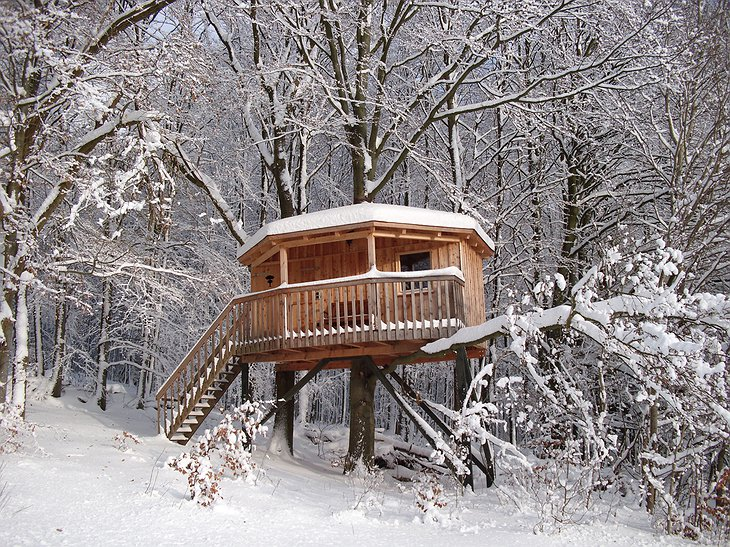 Baumhaushotel Solling treehouse in the winter