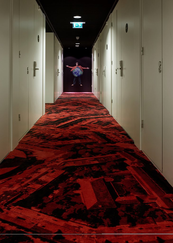 CitizenM Amsterdam corridor with red carpet