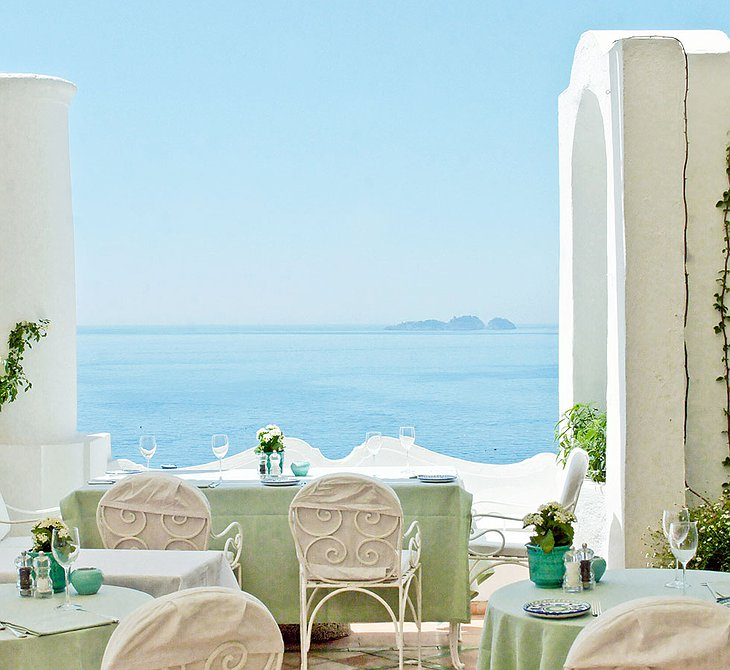 White terrace of Le Sirenuse Hotel