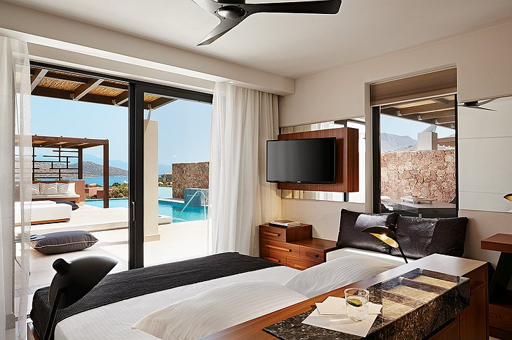 Domes of Elounda bedroom with private pool