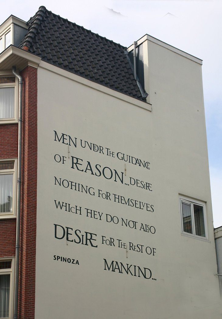 Hotel de Filosoof exterior wall, quote from a philosopher
