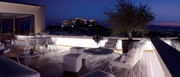 NEW Hotel Athens penthouse suite rooftop terrace