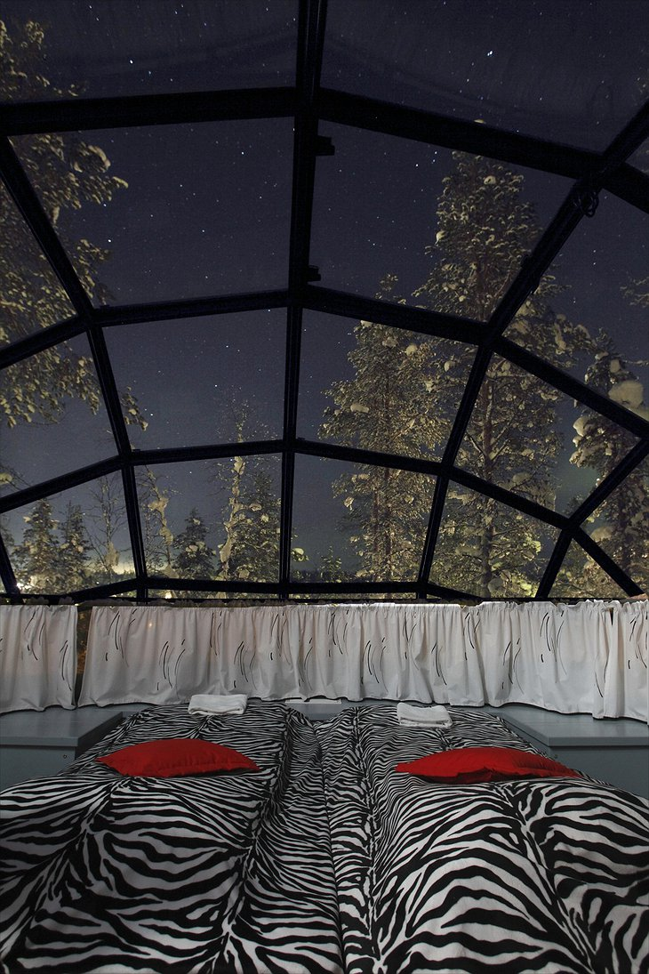 View on the sky and stars from the glass igloo