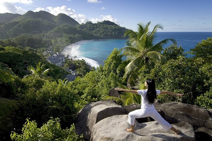 Yoga on the top of the Seychelles rocks