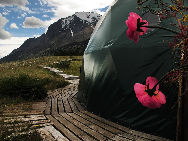 EcoCamp Patagonia dome and the Andes mountains